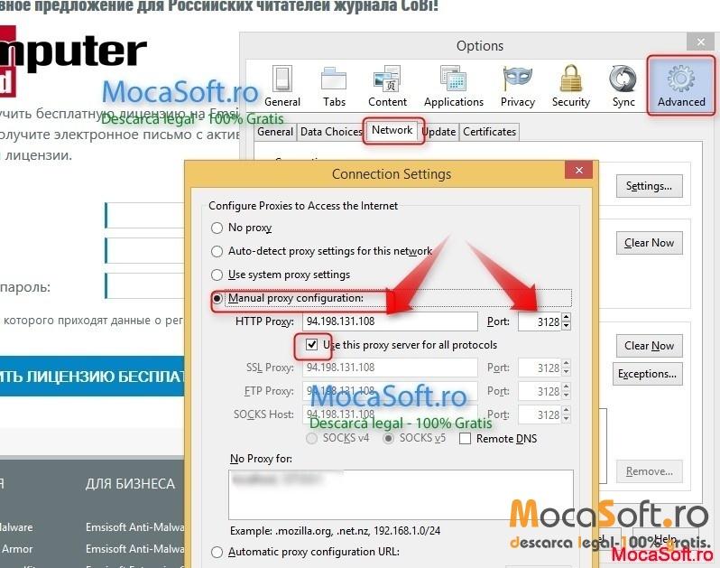 Schimbare proxy Firefox