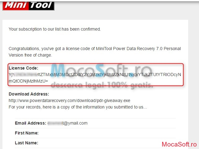 MiniTool Power Data Recovery v7.0 - Licenta Gratis