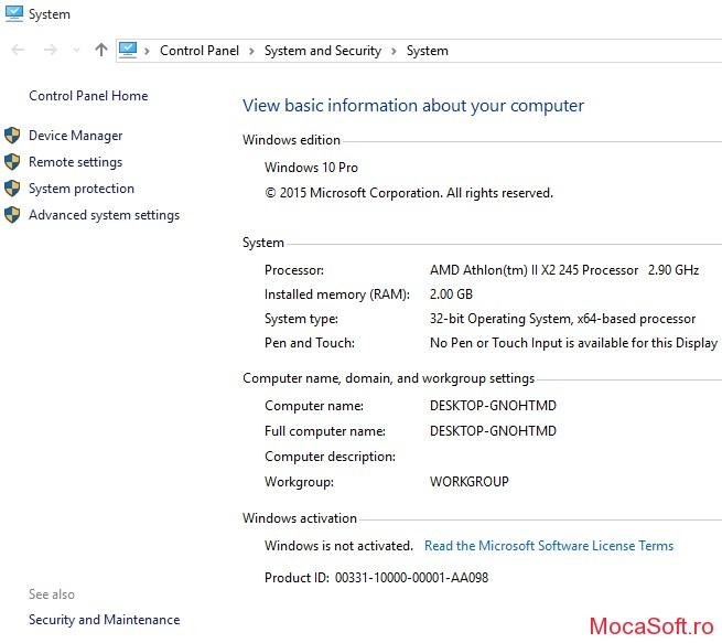 Captura cu Windows 10 build 10240 Neactivat