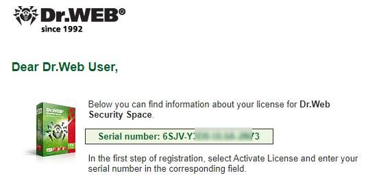 Codul de inregistrarelicenta pentruDr.Web Security Space 11.0