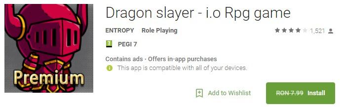 Dragon slayer - i.o Rpg game Joc Gatis Android