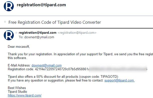 Free Registration Code of Tipard Video Converter