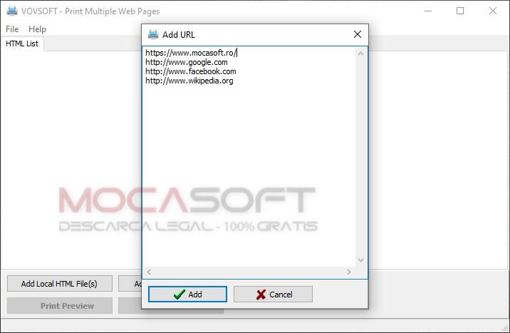 Vovsoft Print Multiple Web Pages