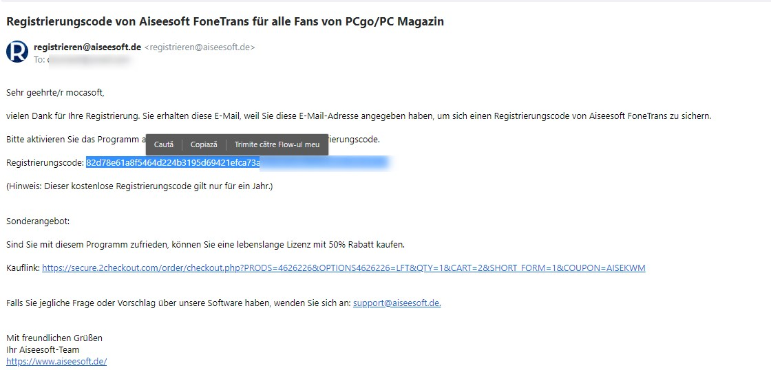 email-ul cu cheia de activare pentru Aiseesoft FoneTrans