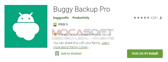 Buggy Backup Pro - Backup pentru Android
