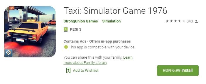 Taxi Simulator Game 1976