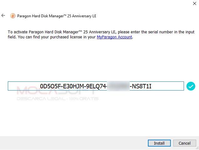PARAGON Hard Disk Manager Serial key