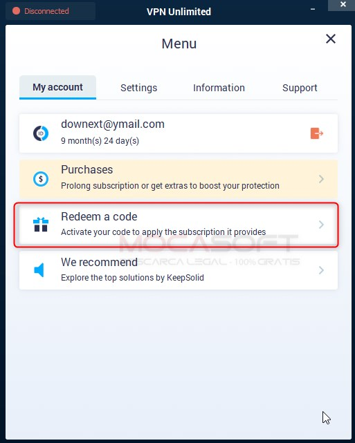 KeepSolid VPN Unlimited Redeem a code