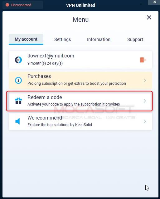 KeepSolid VPN Unlimited Redeem a code