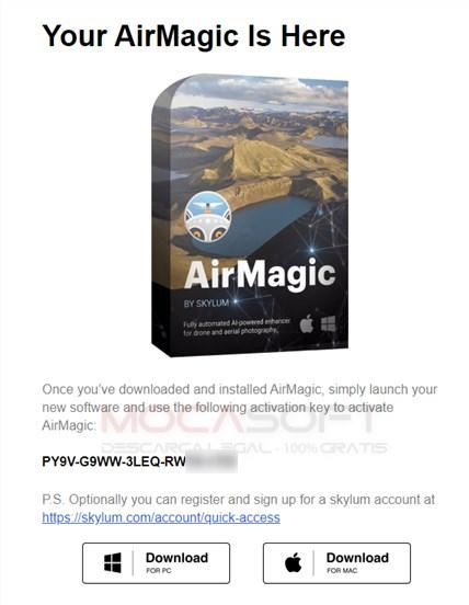 Continutul email-ului Skylum AirMagic Giveaway