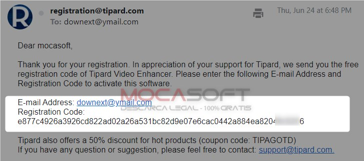 Tipard Video Enhancer Serialul primit in casuta de email