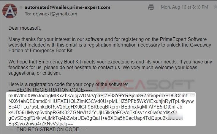 Emergency Boot Kit Serial key